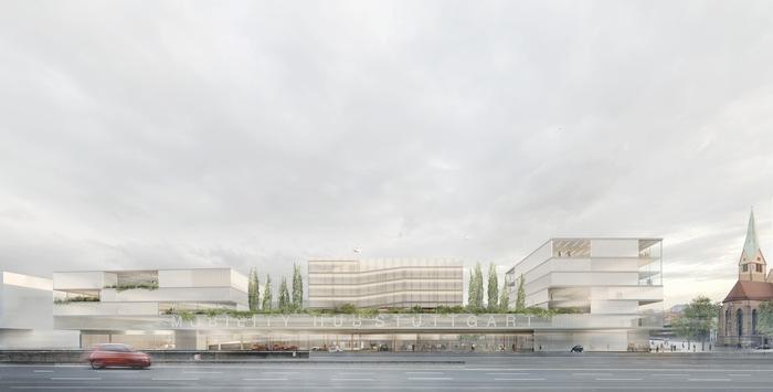 """Architekturbüro haascookzemmrich STUDIO2050 gewinnt Wettbewerb zu """"Smart Mobility Hub"""" / Nachfolgeplan für Breuninger Parkhaus steht"""