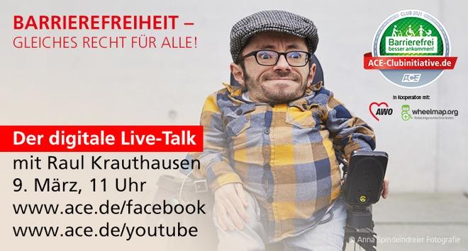 Einladung zum digitalen Live-Talk / Barrierefreiheit – gleiches Recht für alle!