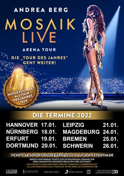 ANDREA BERG MOSAIK Live Arena Tour – Die Tour des Jahres geht weiter!